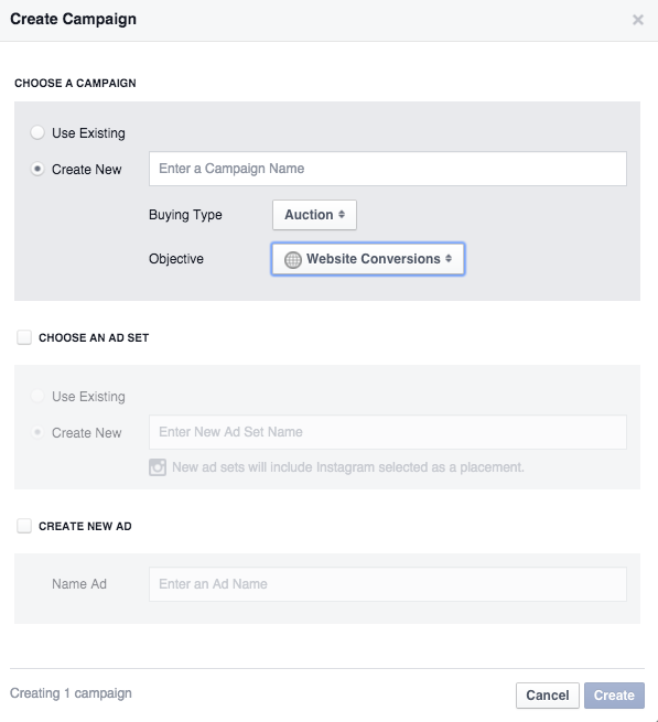 Create Facebook Campaign Pop Up