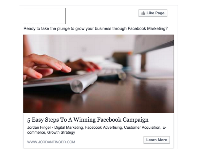 Facebook Marketing Campaign Created By Jordan Finger